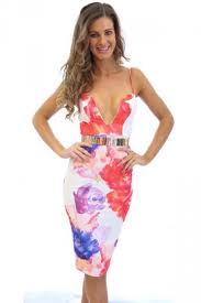 red deep v low cut floral printed ladies bodycon dress pink