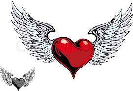 retro color heart with wings for tattoo design stock vector