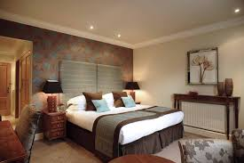 blue and brown bedroom cool accent wall minimalist silk flat