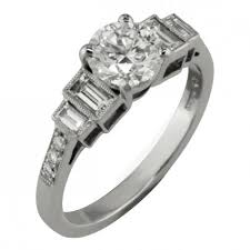 art deco engagement ring with baguette u0026 round diamonds