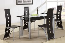 Glass Top Dining Table And Chairs Amazon Com Poundex F2212 U0026 F1274 Black Painted Glass