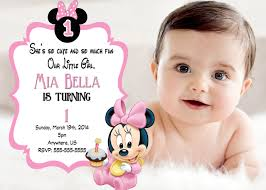 Minnie Mouse Invitation Card Minnie Mouse 1st Birthday Invitations Marialonghi Com