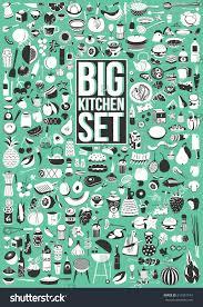 big vector set food drink kitchen stock vector 616551194