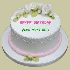 happy birthday sugar rose cake with your name write name on hbd