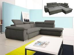 canap lit rangement canapé d angle convertible en tissu taupe ou noir fabien