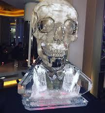 skull ice sculpture james bond theme vodka luge by psd ice art