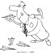 vector cartoon businessman playing paper planes