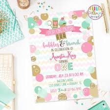 brunch party invitations bubbles brunch birthday invite bubbles birthday party