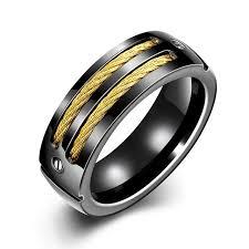 titanium wedding band jenia 8mm titanium band men s gold black color cable inlay