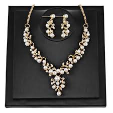 rhinestone necklace earrings images Pearl rhinestone necklace earrings bossbuy jpg