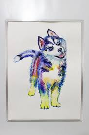 husky dog canvas print puppy siberian husky watercolor painting