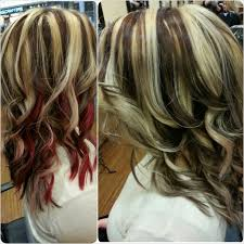 hair styles brown on botton and blond on top pictures of it pale blonde with dark brown lowlights and red accent panel