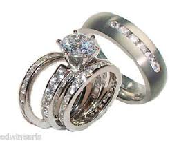titanium wedding ring sets his and hers wedding rings 4 cz ring set sterling silver