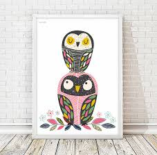 printable owl art owl nursery print animal print kids art room kids art decor