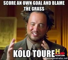 Kolo Toure Memes - score an own goal and blame the grass kolo toure ancient aliens