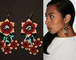 Native American Beaded Earrings Huichol Red Boho Tribal Earrings Huichol Native American Beaded