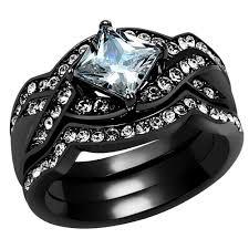stainless steel wedding rings artk2741bl women s 2 2ct princess cut cubic zirconia black