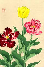 Japanese Flowers Paintings - japanese art flowers floral botanical art prints posters tulips