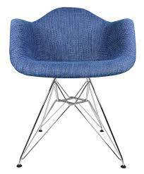 designer denim woven fabric upholstered eames style accent