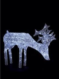 verychristmascrib grazing white light up reindeer outdoor