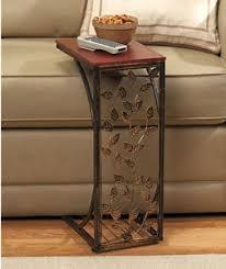 vine side sofa end table wood desk tv snack drink book tray slide