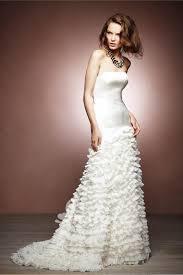 ivory satin strapless glamorous informal a line ruffled wedding