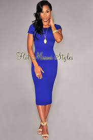 royal blue dress blue textured sleeves midi dress