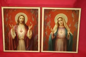 jesus and mary sacred hearts 2 picture vintage home interior decor