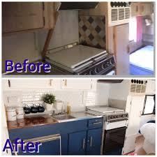 before and after caravan camper poptop rv renovation kitchen