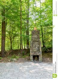 stone fireplace in green forest stock photo image 56595870