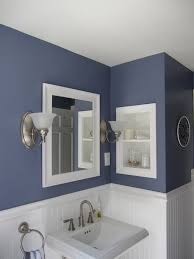 bathroom sky wall and tall wainscoting bathroom with