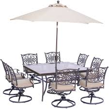 Swivel Patio Dining Chairs by Traditions 9 Piece Square Dining Set With Eight Swivel Dining