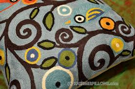 Accent Sofa Pillows by Klimt Tree Of Life Birds Blue Throw Pillow Cover Hand Embroidered