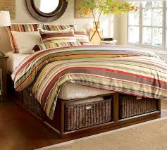 stratton storage platform bed with baskets pottery barn