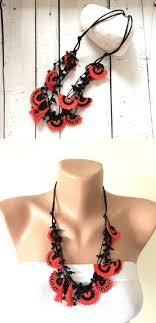 boho bib necklace images Crochet statement necklace oya beaded necklace orange black bib jpg