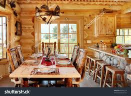 Log Dining Room Table by Formal Dining Room Modern Log Cabin Stock Photo 90401314