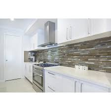 Aluminum Tile Backsplash by Shop Aluminum Beige Mixed Material Glass And Metal Mosaic Wall