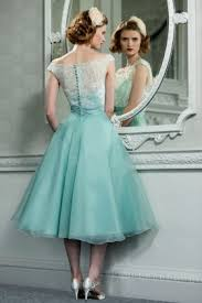 retro vintage style lace organza tea length wedding prom formal