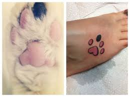collection of 25 small size black and blue paw print tattoos on arm