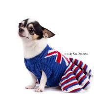 British Flag Dress Union Jack Dog Dress Ruffle Crocheted Dk790 Myknitt