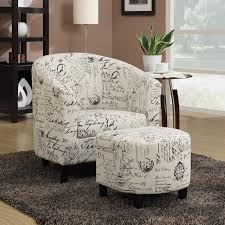 Accent Chair And Ottoman Comfortable 2 Pc Script Fabric Leatherette Vinyl Accent