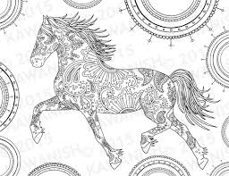 horse coloring page gift wall art mandala zentangle