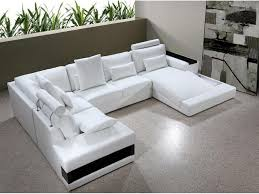 living room with leather sofa with chaise u2014 prefab homes