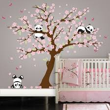 panda cherry blossom tree wall decal in an instant