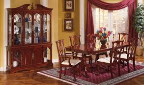 Cherry Dining Room Cherry Finish Traditional Dining Room W Pedestal Table