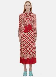 gucci women u0027s long geometric print pleated crêpe de chine dress