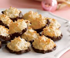 these low fat low calorie coconut macaroons are dipped in melted