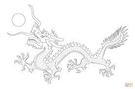chinese dragon from the flag of qing dynasty coloring page free