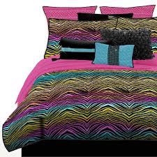 teen girls bed in a bag amazon com veratex stylish rainbow zebra youth micro fiber fabric