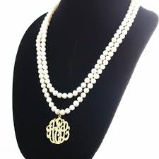pearl monogram necklace pearl necklace with monogram pendant from monogram online